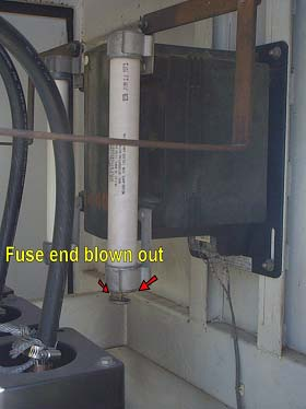 Fuse end blown out