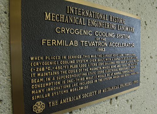 Mechanical Engineering Landmark plaque, Last Magnet Installed Document and Cross Section of Tevatron Dipole Magnet
