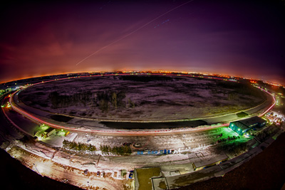 A time lapse image of the Tevatron ring, taken at night