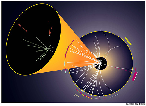 This artistic image depicts a particle collision in the CDF experiment at Fermilab from the Tevatron's Run I