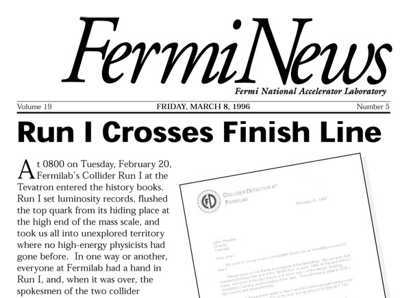 A FermiNews article about the end of Run I
