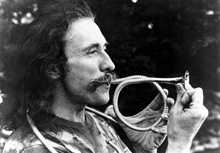 Frank Crawford in 1975 with the corrugahorn he invented.
