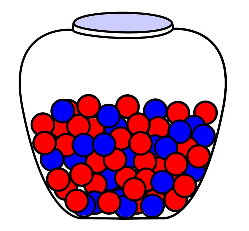 All scientific measurements are based on an incomplete access to information, such as this small sample of marbles from a larger pool.