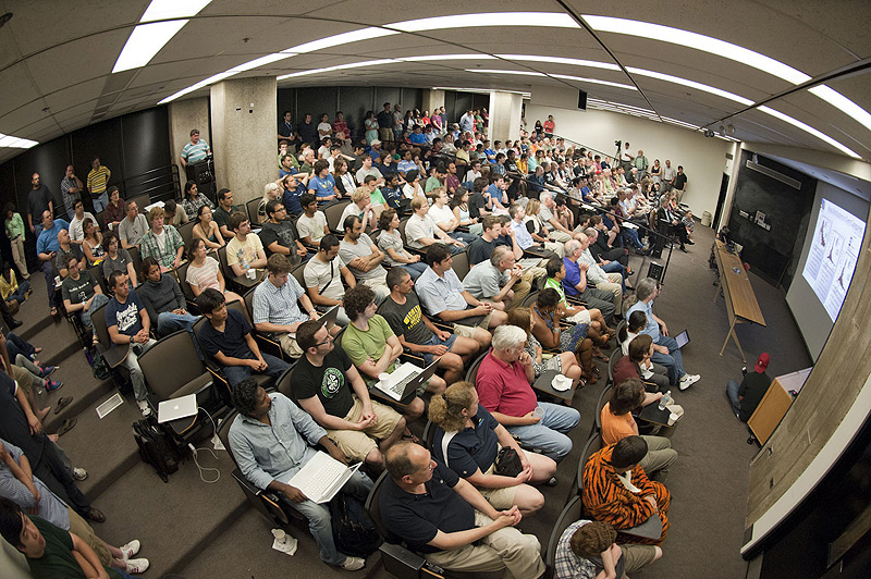 A Standing Room Only Crowd Gathered At 2 Am Yesterday In One West To Watch CERNs Broadcast On Their Latest Higgs Search Results