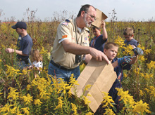 Volunteers at last year's prairie harvest
