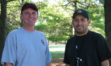 Michael Rogers (left) and Cris Banuelos are both survey engineers at SLAC.