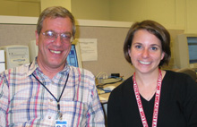 Mike Albrow (left) and Jodi Wittlin after Monday night's Virtual Ask-a-Scientist.